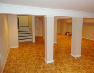 Our flooring is just one part of our basement finishing system. Check out TBF's wall options, stairs, post surrounds, moldings, and more!