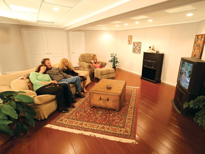 A finished basement family room & Finishing For All Things Basementy!