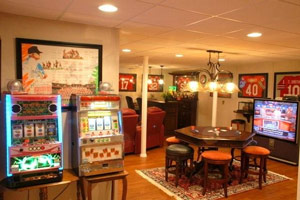 Man cave dcor. Finished basements are place to display collections and  memorabilia.