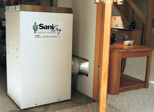 Ducted SaniDry dehumidifier can be installed in a storage room or closet