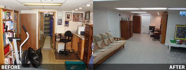 Basement Finishing Before and After in New Berlin Milwaukee