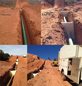Installing spray foam trench breakers in San Antonio area TX