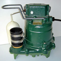 Closeup of a Zoeller basement sump pump