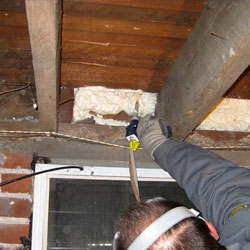 closed cell spray foam insulation insulating the sill plate in a crawl space