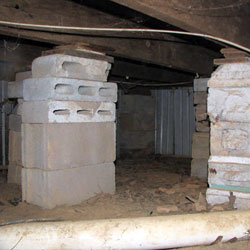 concrete masonry unit columns installed in a crawl space
