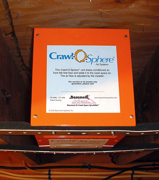 An installed crawl space ventilation fan system.