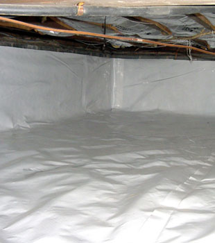 A crawl space sealed with our durable vapor barrier system