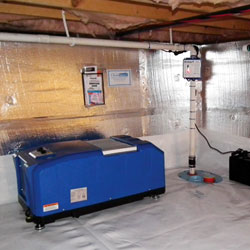 A crawl space maintained with a vapor barrier, foam insulation, a sump pump, and an energy efficient dehumidifier.