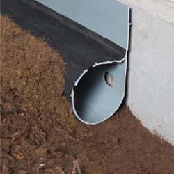 A crawl space French drain system