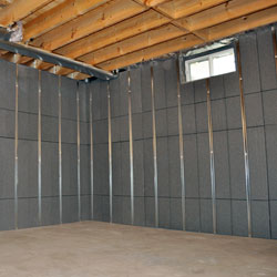 An insulated basement wall