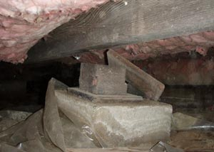 A weak crawl space support post with slight mold and rot damage