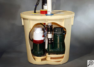 A sump pump installed in a sump pit that is in need of service.