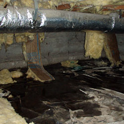 Bad fiberglass in a wet crawl space