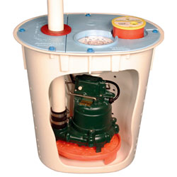 A sump pump system for crawl spaces
