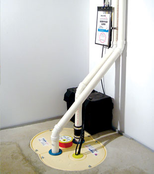Our complete sump pump system and battery backup pump.