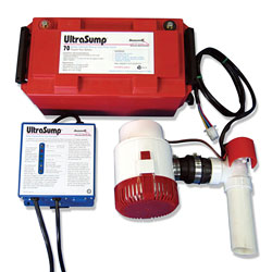 An UltraSump® battery backup sump pump system.