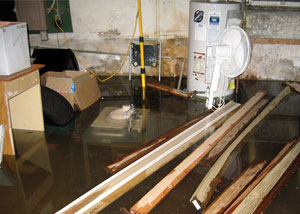 A flooded basement with several feet of water.