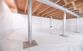 Crawl space structural support jacks installed in Merced