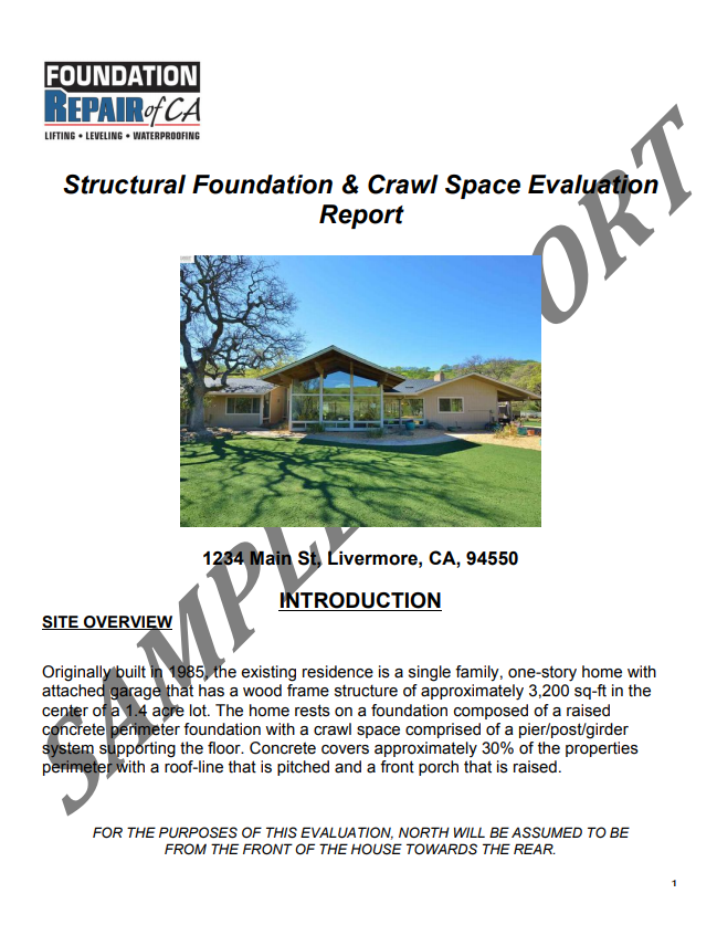 Foundation & crawl space real estate evaluations in the San Francisco Bay Area & Central Valley