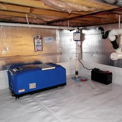a crawl space vapor barrier and insulation system installed in a home in Elmira