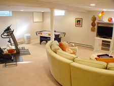 basement family room in Medford