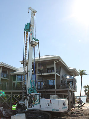 Continuous flight auger pile installation