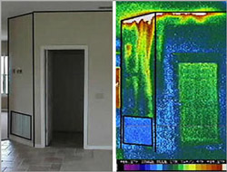 Thermography showing heat loss in poorly insulated building