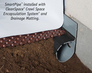 Crawl space drainage, encapsulation & drainage matting installation in Superior