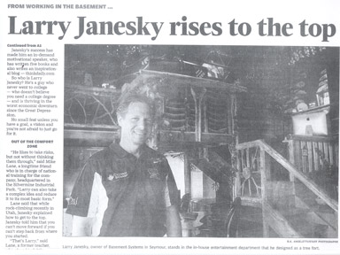 Basement Systems Founder and President Larry Janesky is featured on the front page of a recent Sunday edition of the...