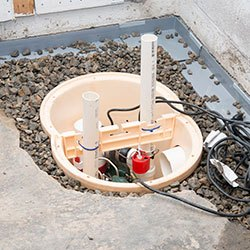 Installing a sump in a sump pump liner in a Clarksburg home
