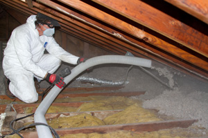 Cellulose blown into attic