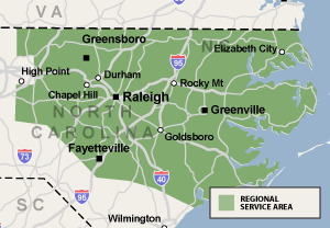 Our North Carolina service area map, showing our services in Warrenton , and nearby