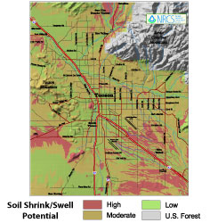 Soil shrink/swell potential in Tucson, AZ
