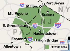 Our New Jersey and Pennsylvania service area map, showing our services in West Milford and nearby