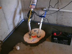 Basement waterproofing with a sump pump