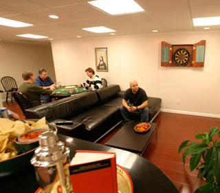 a finished basement game room or man cave area