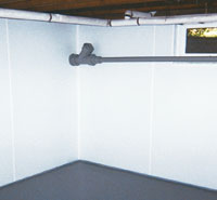 basement vapor barriers on the walls in a formerly leaky basement in Cortez