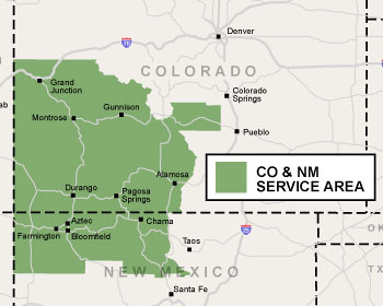 Our Colorado & New Mexico service area map, showing our finishing, waterproofing, & crawl space repair services