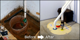 old sump pump and newly installed sump pump in Canon City