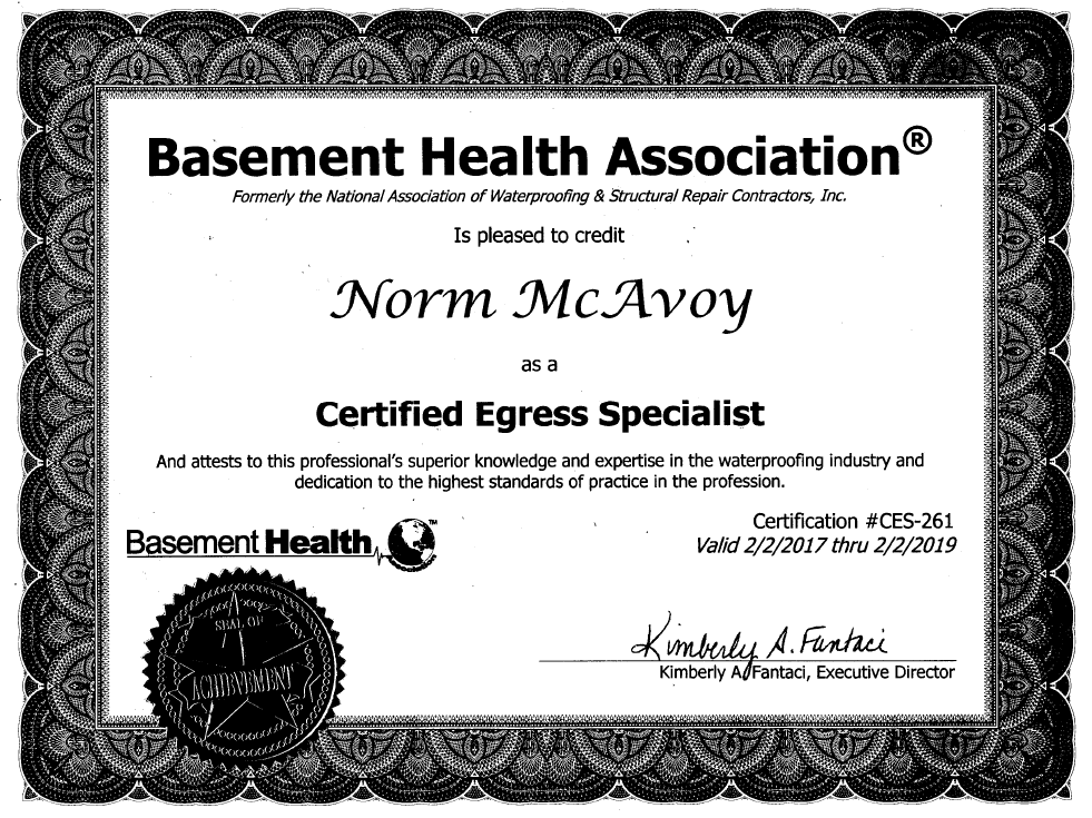 Basement Health Association. Certified Egress Specialist