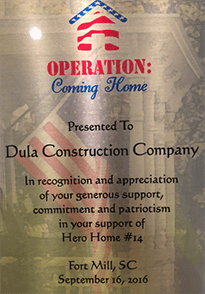 Operation: Coming Home through the Home Builders Association of Raleigh-Wake County