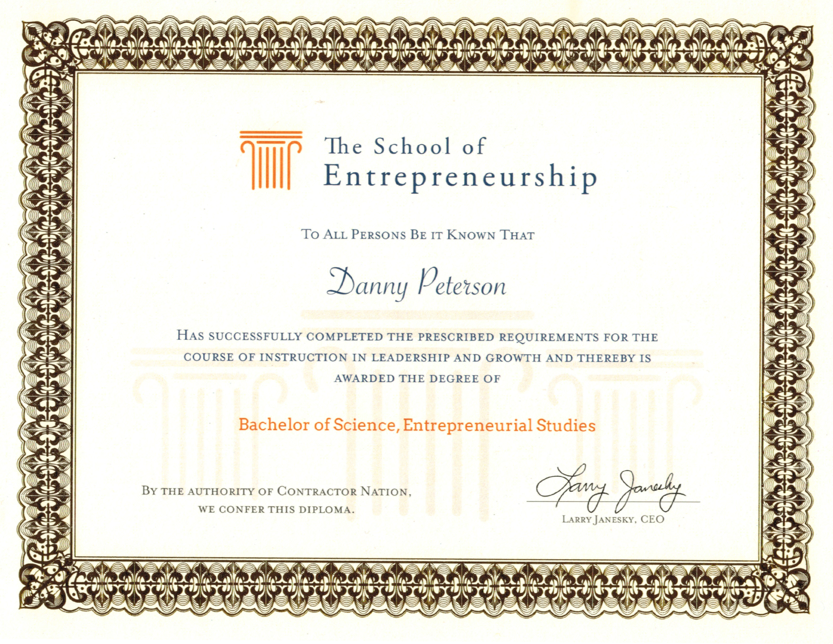The School of Entrepreneurship Bachelor of Science Diploma