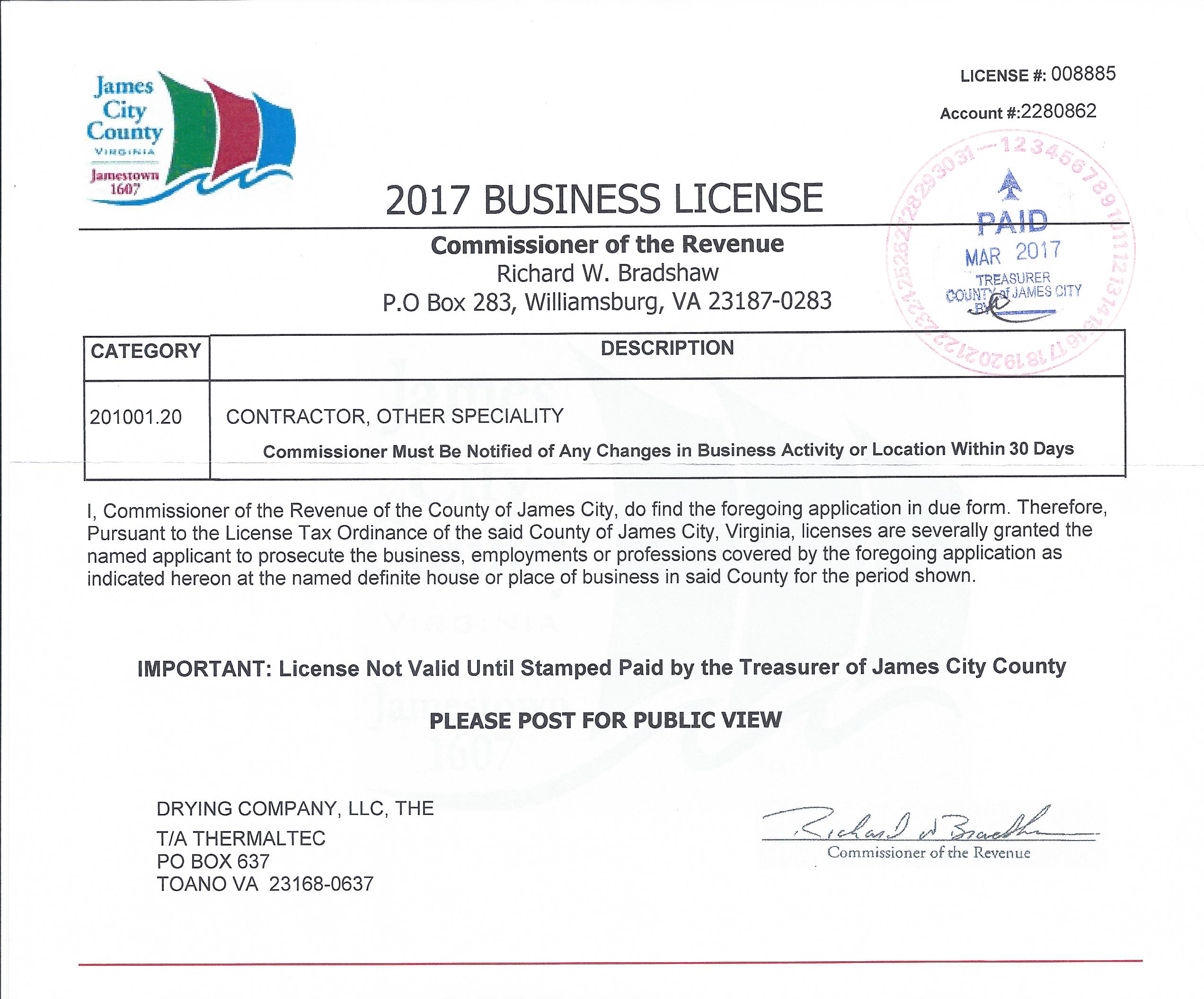 2017 Business License
