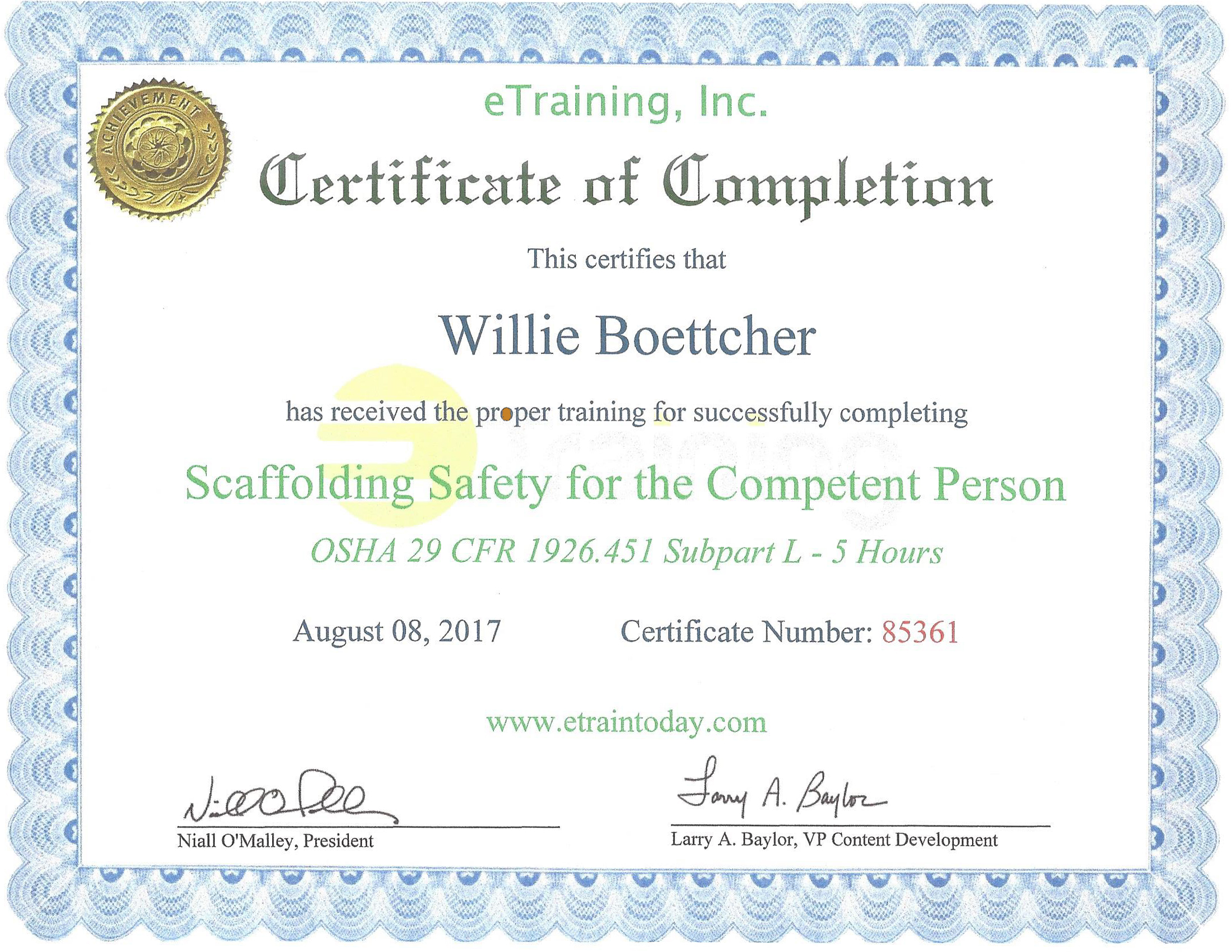Certificate of Scaffolding Safety