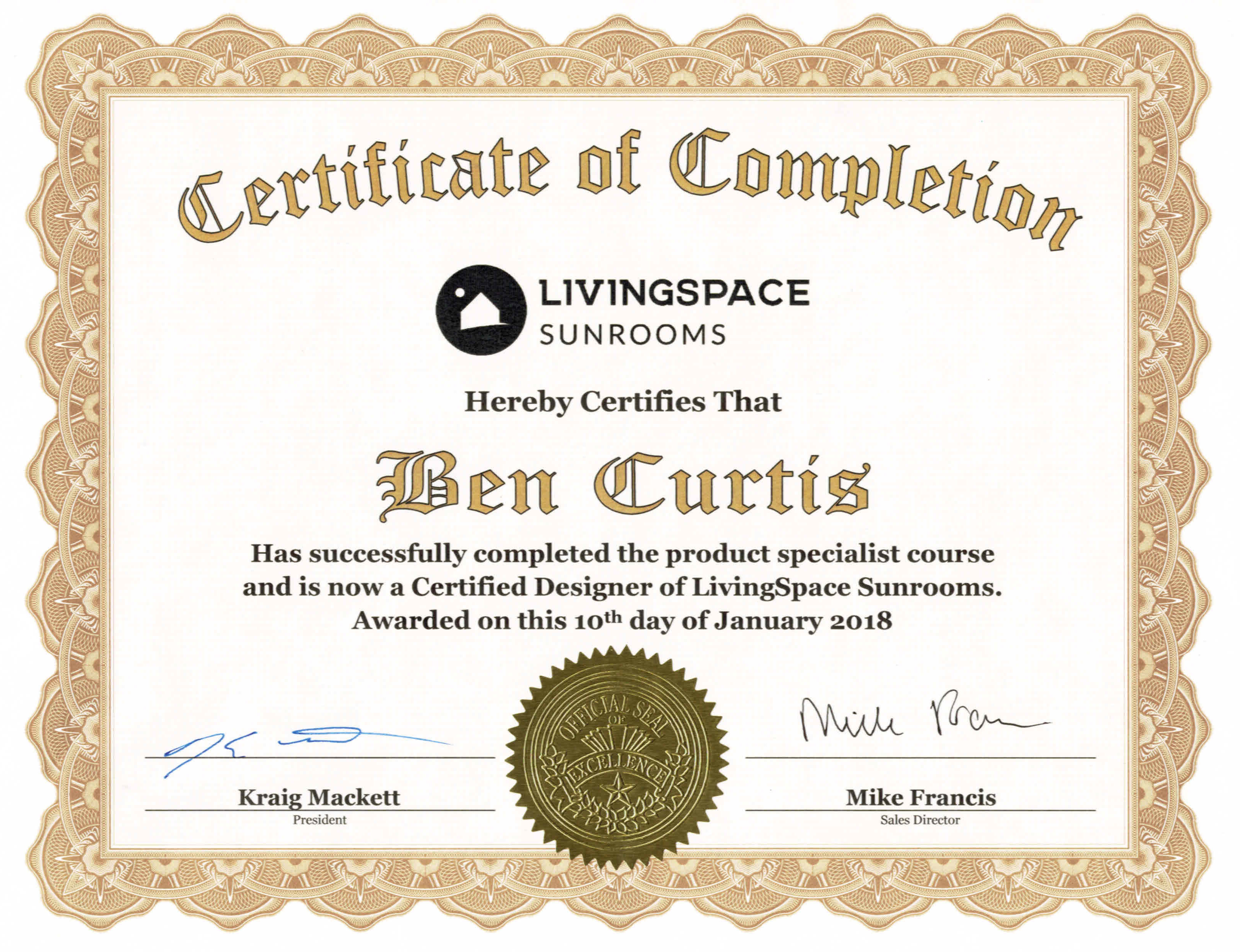 Certified Designer of Living Space Sunrooms