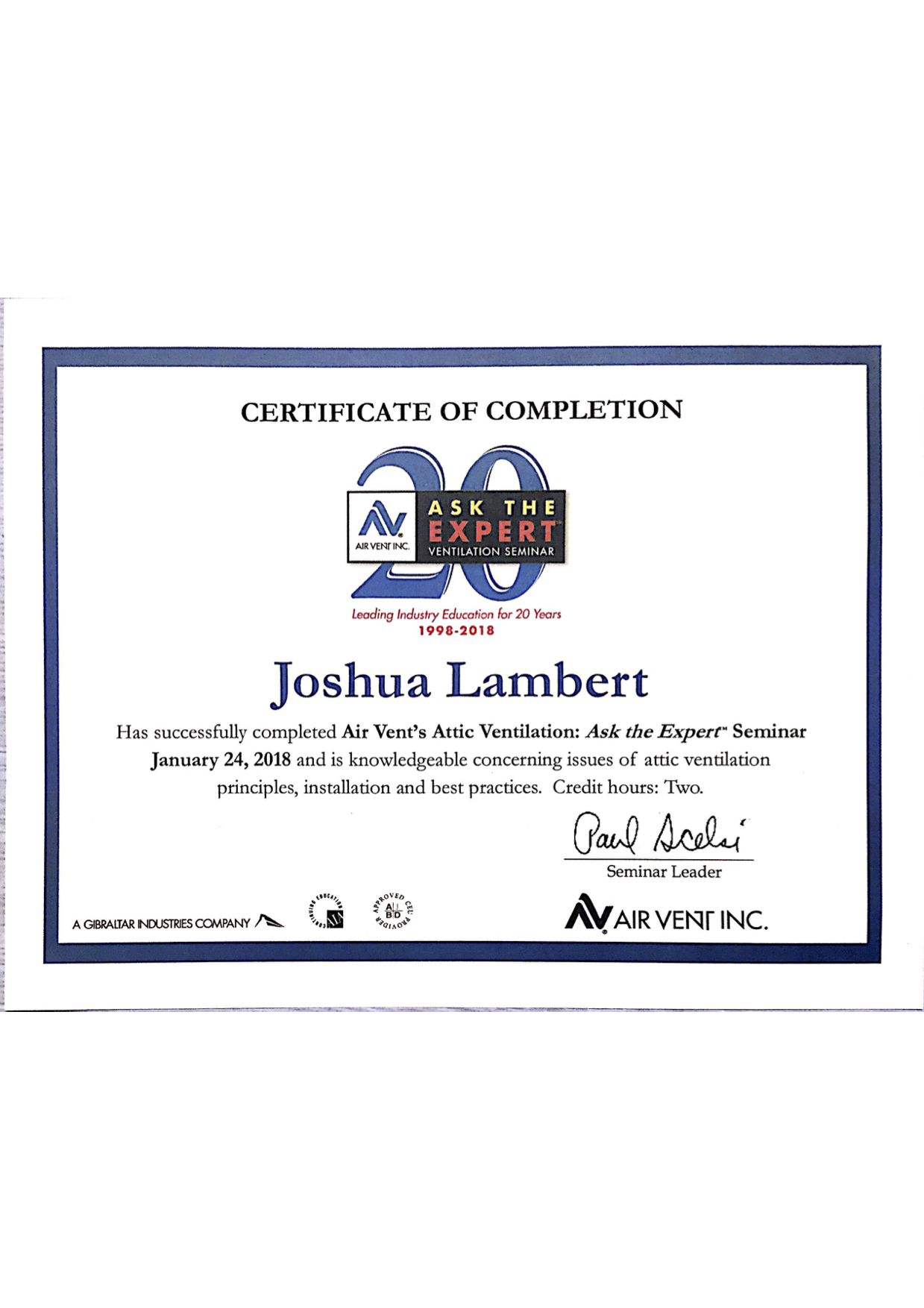 Joshua Lambert - Certified in Air Vent's Attic Ventilation