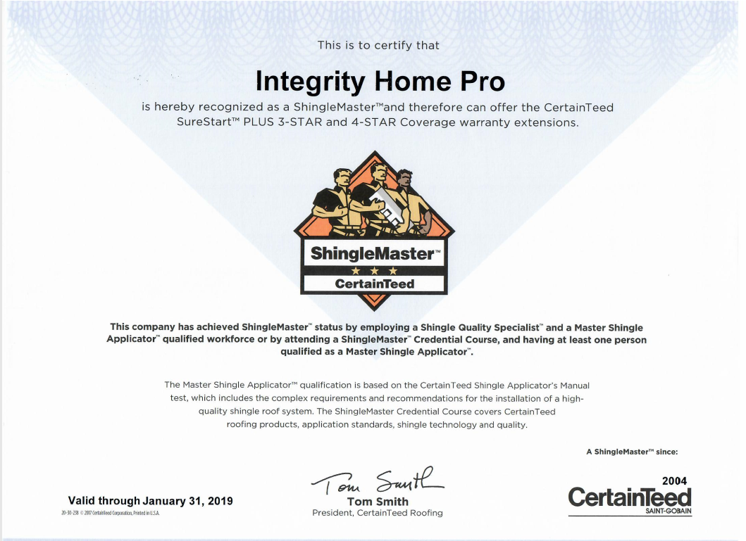 CerntainTeed ShingleMaster Certification