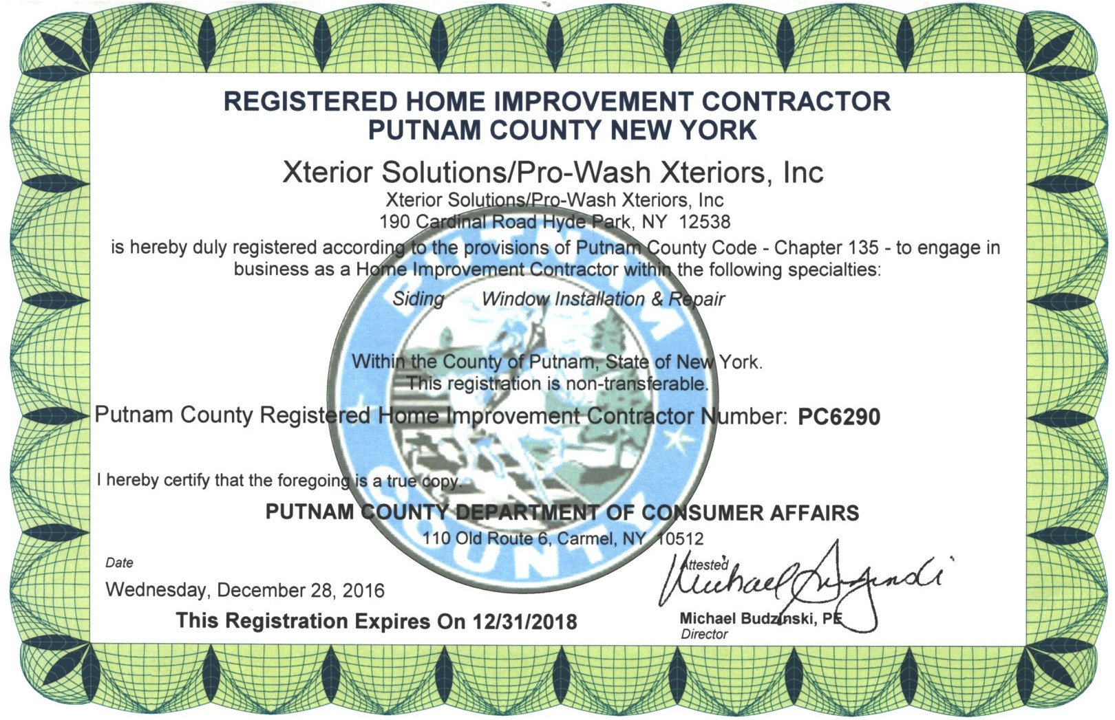 Putnam County Contractor License