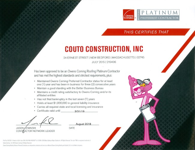Owens Corning Platinum Preferred