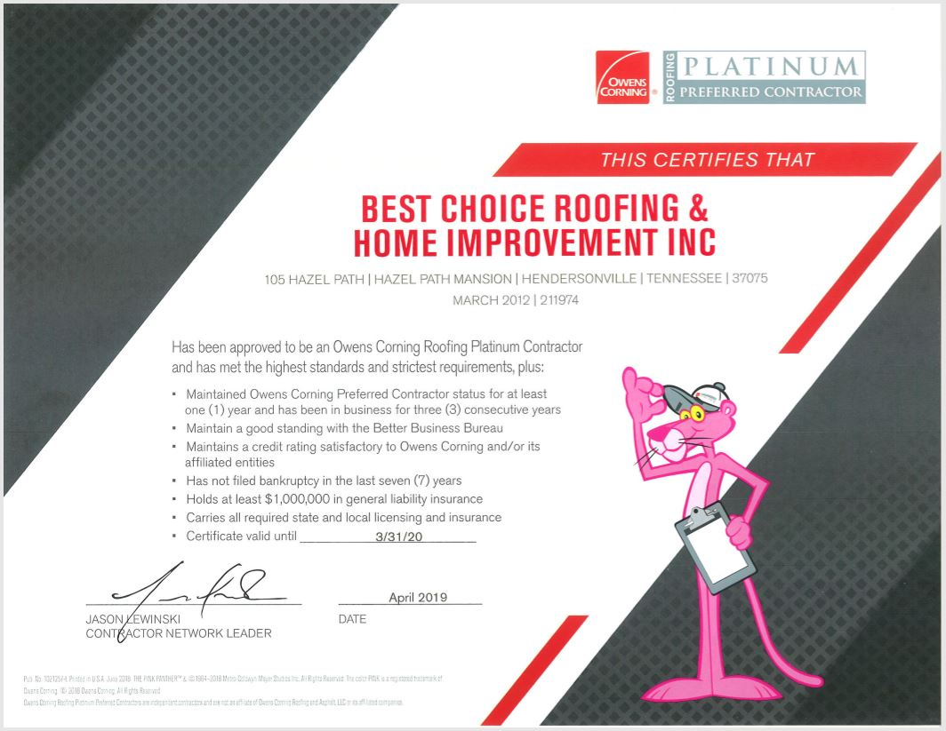 2019 Owens Corning Certified Roofing Platinum Contractor